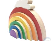 large rainbow wood stacker with cloud, wooden stacking toy, bold rainbow