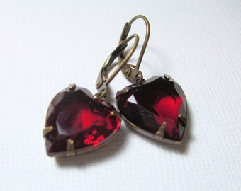 Red Jewel Earrings, Ruby Red Heart
