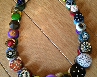 Vintage Button Necklace with Bling.