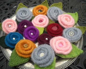 Felted Flower Pin, Grey with Vintage Rhinestone Button, More Available