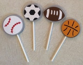 Sports Cupcake Toppers - Birthday Supplies, Party Decorations