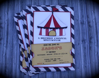 Vintage CIRCUS/CARNIVAL Ticket Invitation