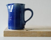 Large straight sided pouring jug - glazed in ocean blue