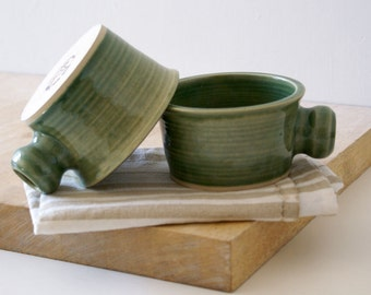 Set of two wide stoneware soup mugs - glazed in forest green
