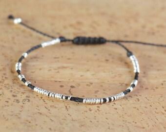 Sterling silver tiny beaded bracelet-Beaded bracelet-Hoops bracelet
