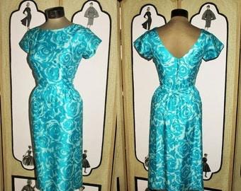 Exquisite 1950's Vintage Tonal Turquoise Silk Floral Cocktail Dress. Medium.