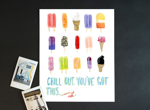 """Watercolor Wednesday Series: """"Chill out"""" art print of an original watercolor illustration"""