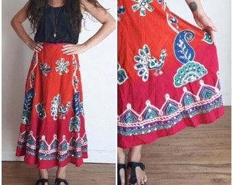 80s India Cotton Skirt Cirle Skirt, High Waist Circle Skirt, Sequined Indian Cotton, Paisley Print, Bohemian, Plus Size BOHO, Gypsy Skirt