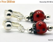 ON SALE Red Ladybug Chinese Lampwork Glass Silver Plated Clip On Earrings