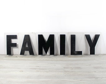 FAMILY - Vintage Acrylic Marquee - 8 Inch Clear Plastic Letters