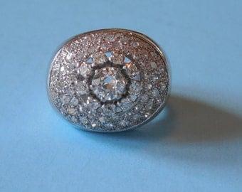 Antique Estate VTG 1960 Huge Over 2 Carats of Diamonds Platinum Dome Cocktail Ring