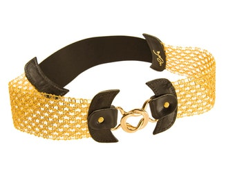 Gold Waist Belt - Women Leather Belt - Women Belts - Elastic Belts - Corset Belt - Special Etsy Belts By Ayelet Shachar- BOGO SALE
