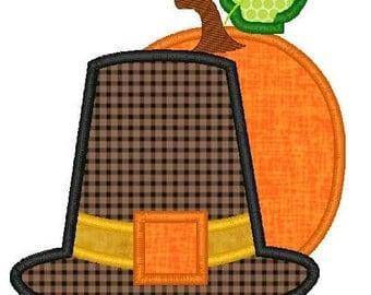 Pilgrim Hat Pumpkin Machine Embroidery Applique Design