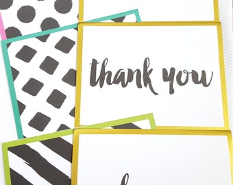 Blank note cards -Assorted Colors/Patterns - set of 12 - Thank You/Thinking of You/Just Because/Hostess/Baby Sitter/Gift/Any Occasion Cards