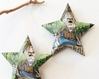 Crazy Fresh Pils Beer Stars : Hops Farmer, Christmas Ornaments, Aluminum Can Upcycled, Aviator Brewing Company, Green Brown