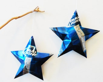 Bud Light Platinum Beer Stars Christmas Ornaments Aluminum Can Upcycled Budweiser
