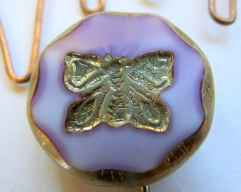 NEW Swirled Lavender BUTTERFLIES . Czech Picasso Glass Beads . 26 mm (1 bead)