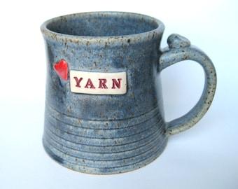 Love Yarn mug - in blue, IN STOCK