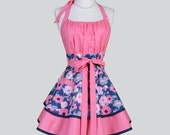 Flirty Chic Womens Aprons , Full Retro Kitchen Cooking Apron in Vintage Coral Pink and Navy Floral Handmade Hostess Cute Womans Apron
