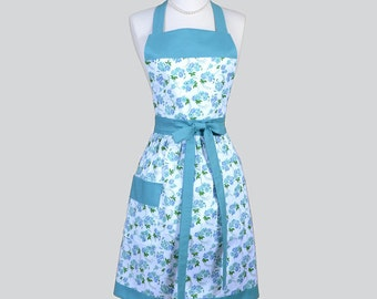 Full Bib Womens Apron / Retro Womans Kitchen Cooking Apron in Vintage Teal Blue Green Floral Cute Kitchen Apron Personalize or Monogram