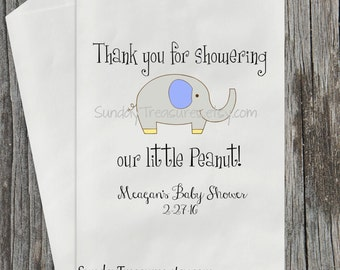 12 PAK ELEPHANT Baby Shower Candy Buffet Party Favor Cookie Treat Bags / Thank You for showering our Peanut / Blue Yellow Grey /  3 Day Ship