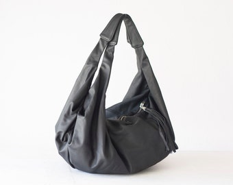 Black leather bag, large hobo bag shoulder purse soft leather bag hobo carryall bag weekend sling - Kallia bag