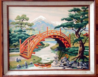 "Vintage Craftint Paint by Number Painting Asian Bridge & Garden Framed 16"" x 20"""