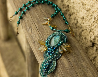 Bead Embroidered Turquoise Necklace with Glass Cabochon