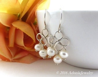 Pearl Bridal Earrings - Sterling Silver Earrings - Clover Earrings - AdoniaJewelry