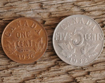 Canadian 1936 penny and 1932 nickel, King George, The Kings Speech, one cent, five cents