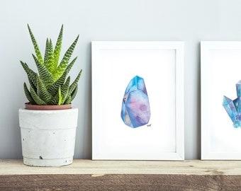 Watercolor Crystals   Art Print Set