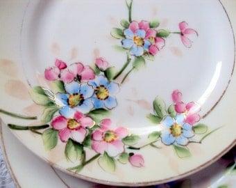 Antique,Set of 4, Nippon Salad Porcelain Plates,cr.1911,Hand Painted Florals,Gold Moriage,Blue Backstamp,Dining Serving,Heirloom Estate,