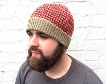 Beanie hat, men's knit accessory, olive red stripe.