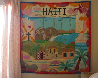 "Haiti quilt, Viva Haiti, 62"" x 62"" appliqued and quilted"