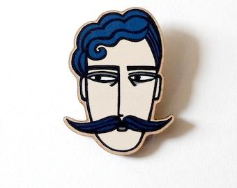 Circus Strongman Pin / Strongman Lasercut Wooden Pin / Strongman Brooch / Strongman Pin