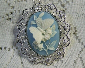 Butterfly Brooch - Something Blue - Wedding Bouquet Jewelry - Blue & White Brooch Pin Pendant Combination - Floral Bouquet Brooch - Serenity