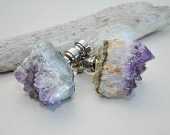 Lamp Finial Pair - Natural Amethyst Geode