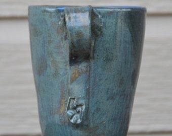 Porcelain Mug, Blue Coffee Mug, Porcelain, Wheel Thrown