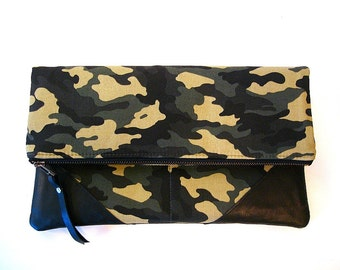 Foldover Large Zipper Clutch Camouflage and Black Leather Clutch