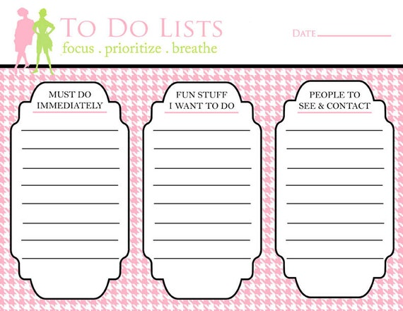 Printable To Do List, Preppy Pink Hounds Tooth, 3 Columns, Office Organization Tools, New Year Gift, Planner List, To Do List Printable