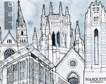 Marquette University Pen Ink and Watercolor Art Print by James Steeno (Milwaukee, Wisconsin)