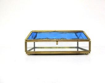 Vintage Brass and Glass Box, Nautical Display Box, Curio Box, Dolphin Etching,  Coastal and Beach Decor