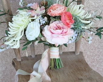 Wedding Bouquet   Coral Blush Pink Ombre   Wispy Airy Loose Silk Flower Bridal Bouquet