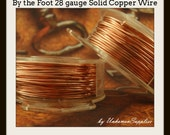 By the Foot 28 gauge Copper Wire - Solid Raw Metal - Dead Soft -  100% Guarantee