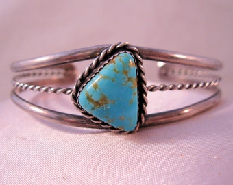Native American Turquoise Sterling Silver Cuff Bracelet Vintage Jewelry Jewellery