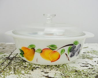 Vintage Fire King Gay Fad Fruit pattern round covered casserole