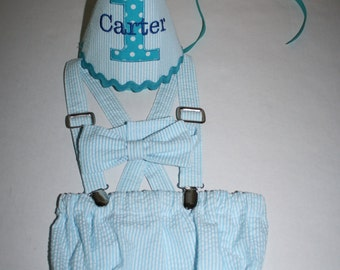aqua blue boy first birthday outfit, cake smash outfit, seersucker stripe with teal, 1st birthday hat, suspenders, diaper cover, bow tie