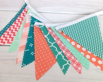 Bunting, Banner, Fabric Flags, Baby Girl Nursery Decor, Pennant, Garland - Mint Green, Teal, Peach, Salmon, Turquoise, Coral Pink, Chevron