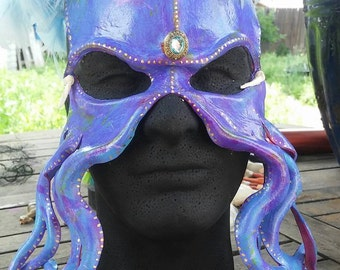 Purple Leather Octopus mask OOAK