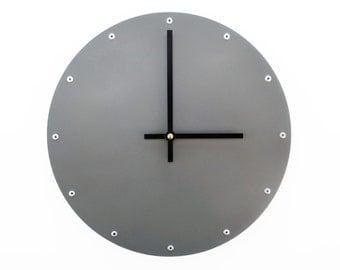 Circle, Medium, Unique Wall Clock, Modern Wall Clock, Steampunk Wall Clock, Industrial Metal Art, Cool Home Decor, Wedding Gift, Dark Gray